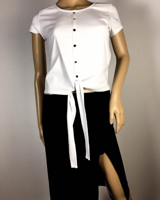tricou alb damă vară înodat,