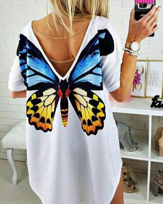 tricou damă cu fluture și spatele gol,