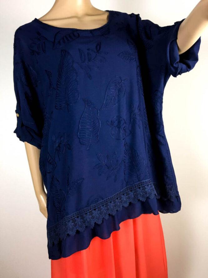 bluză bleumarin damă vară brodată,