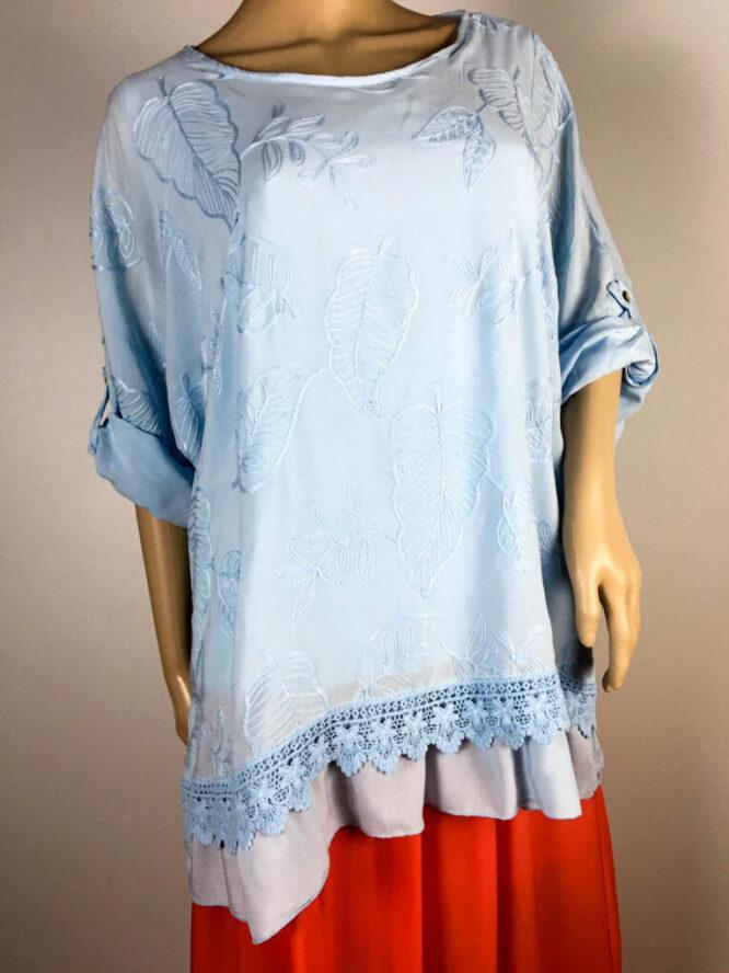 bluză bleu damă vară brodată,