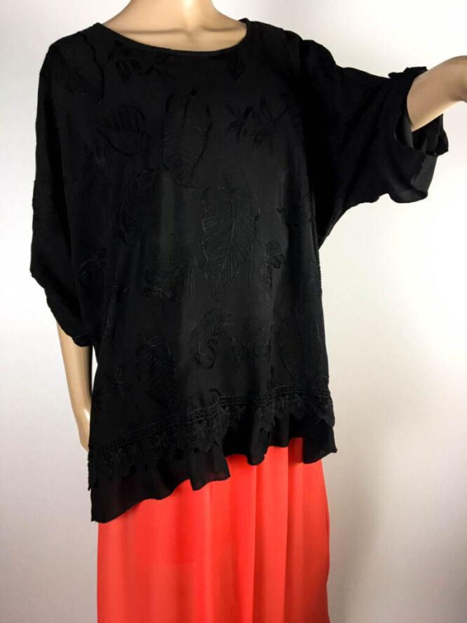 bluză neagră damă vară brodată,