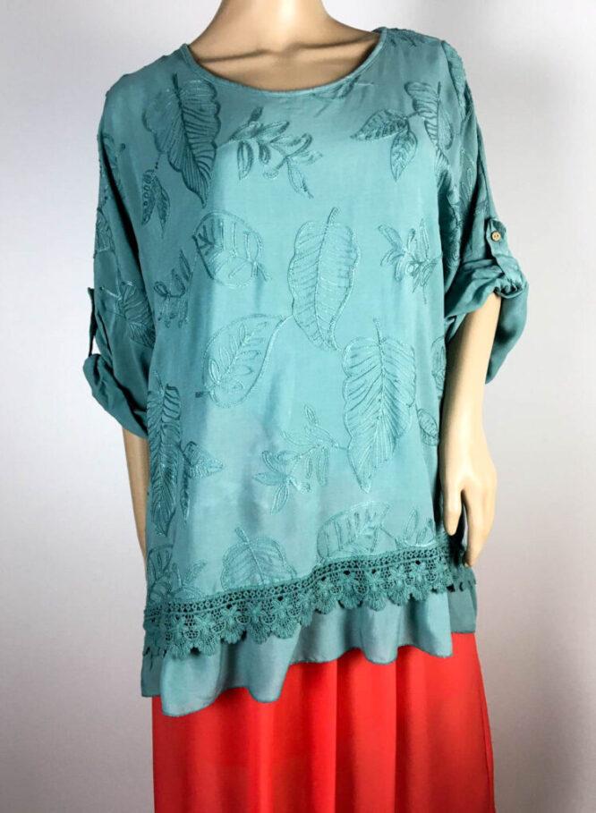 bluză verde damă vară brodată,