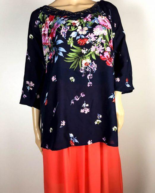 bluză bleumarin damă vară cu flori,