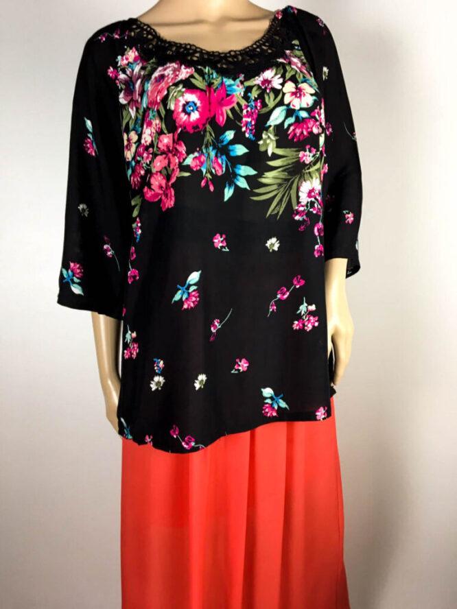 bluză neagră damă vară cu flori,