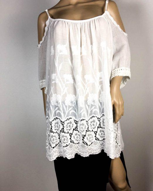 bluză albă damă vară cu dantelă,