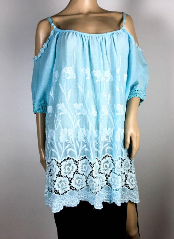 bluză bleu damă vară cu dantelă,