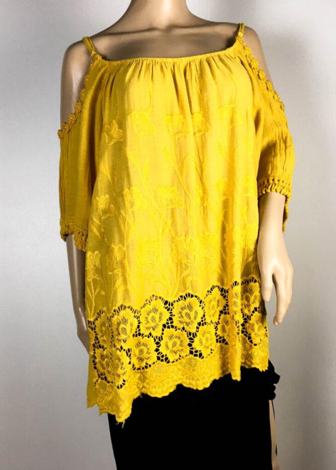 bluză galben muștar damă vară cu dantelă,