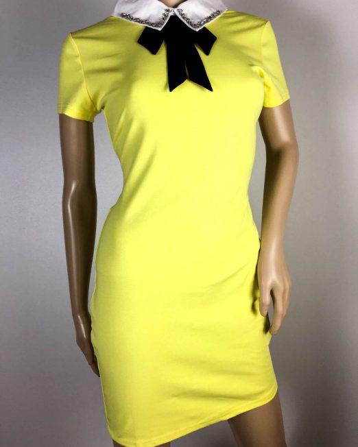 rochie galbenă damă vară cu guleraș și fundiță,