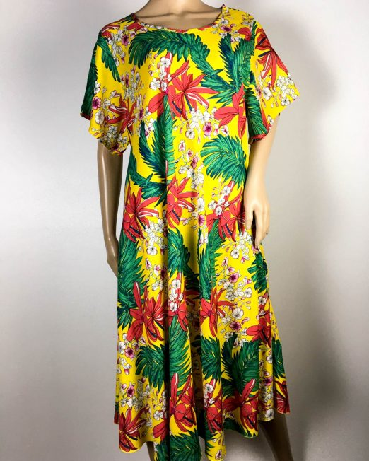 rochie damă vară galbenă cu flori,