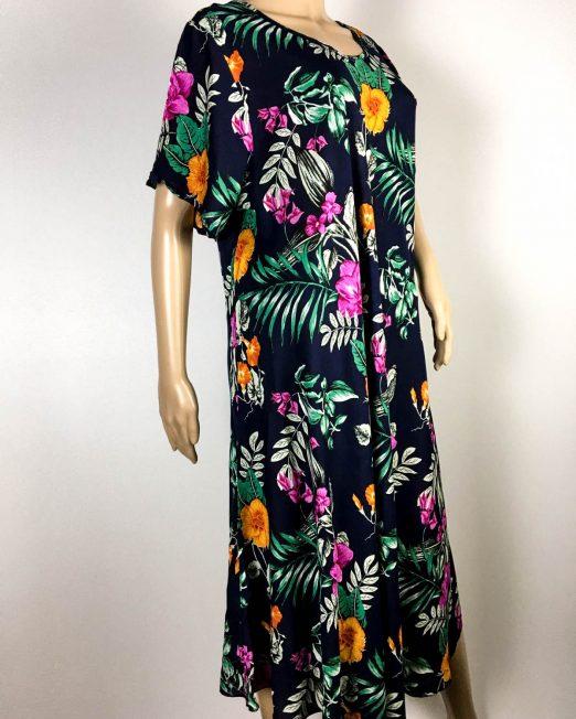 rochie damă vară bleumarin cu flori,