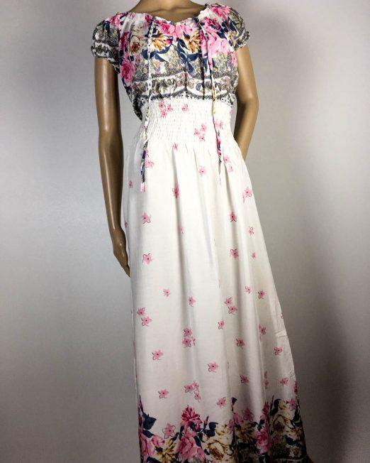 rochie albă damă vară cu flori,