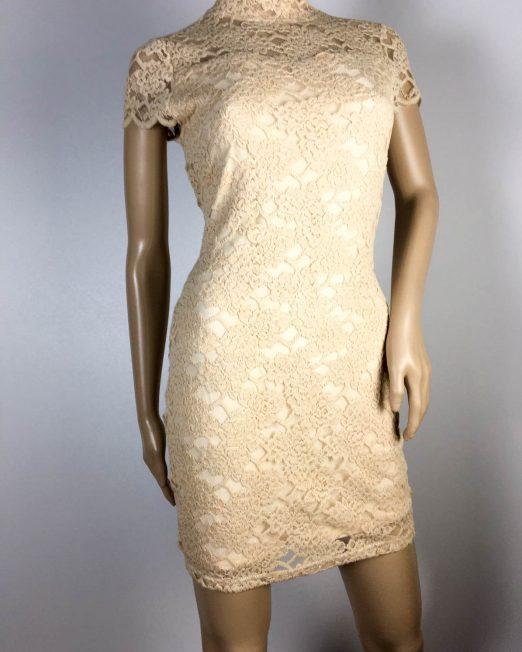 rochie beige damă vară dantelă,