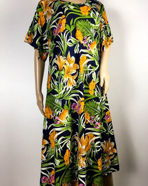 rochie bleumarin damă vară cu flori,