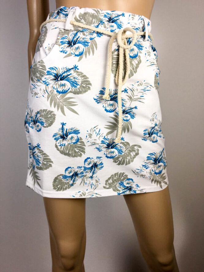 fustă albă scurtă damă vară cu imprimeu,