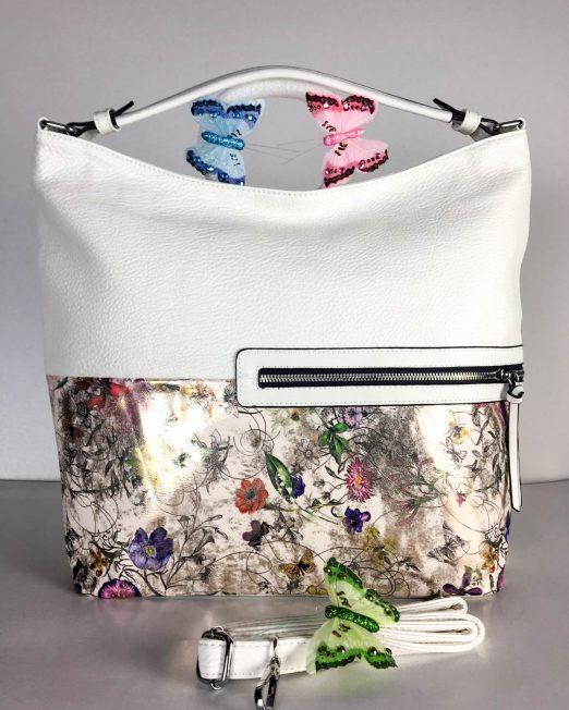 geantă damă albă cu flori,