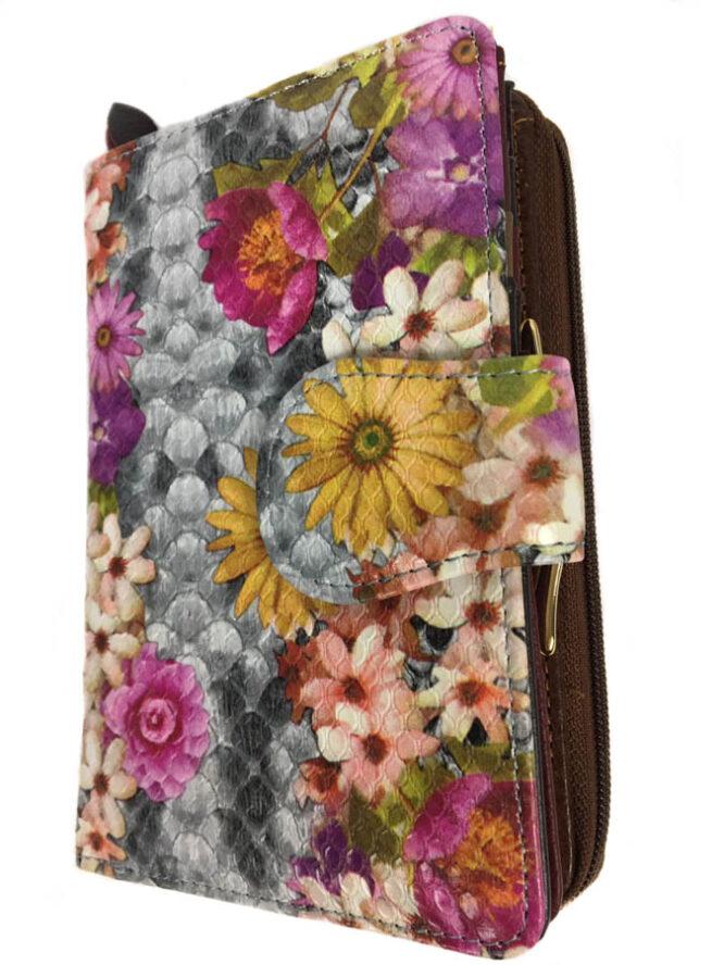 portofel damă din piele cu flori,