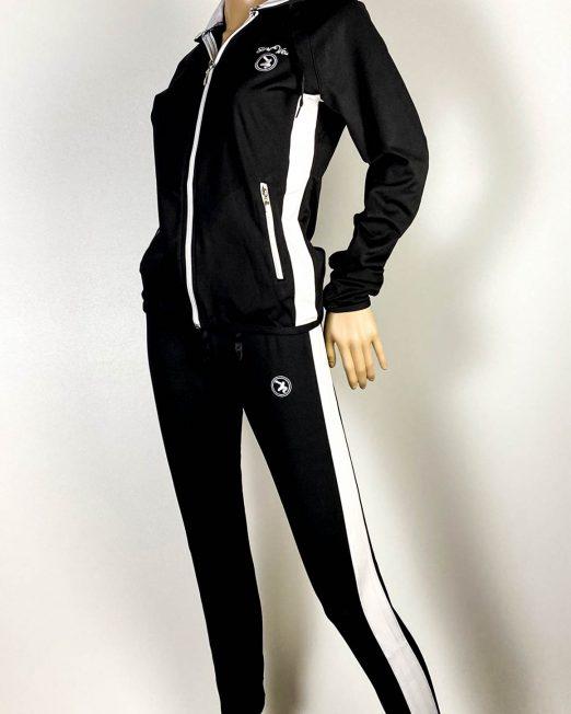 trening negru cu alb damă cu pantalon colant,