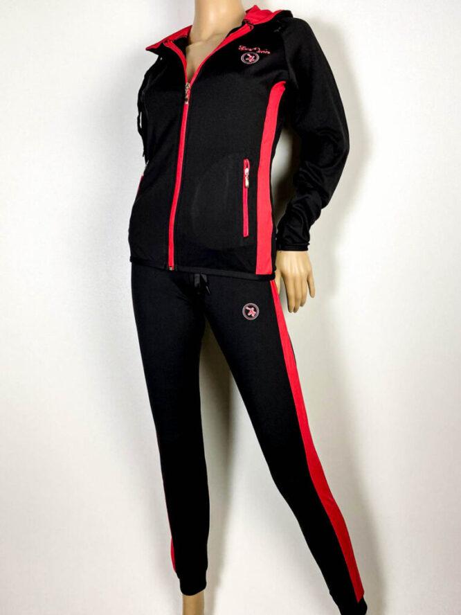 trening negru cu roșu damă cu pantalon colant,
