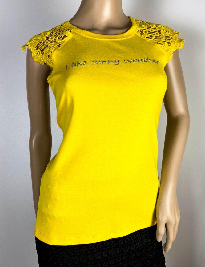 tricou galben damă cu dantelă,