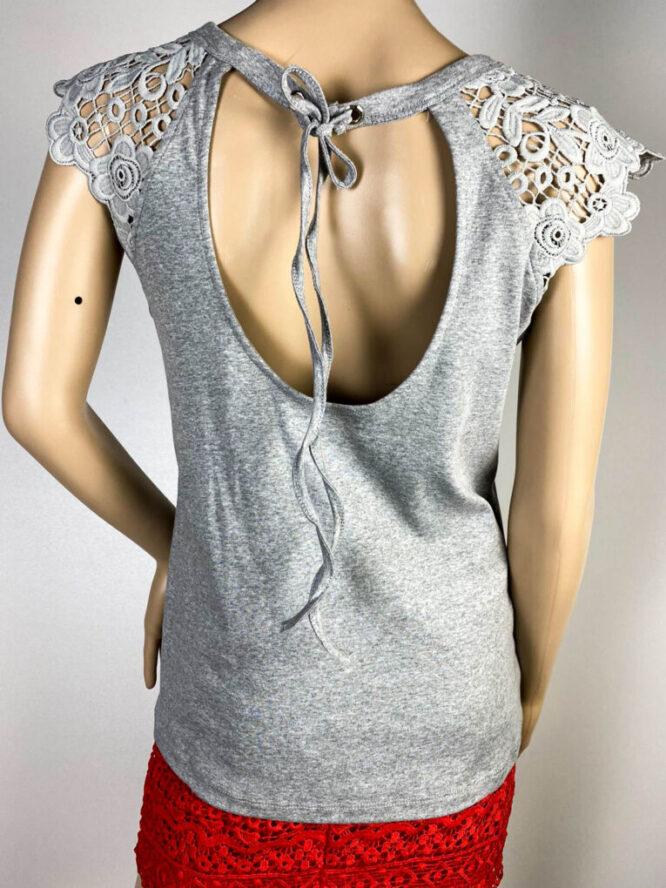 tricou gri damă cu dantelă,