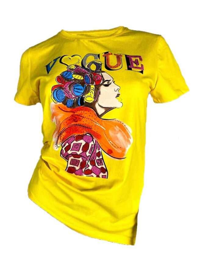 tricou galben damă vară cu pietre,