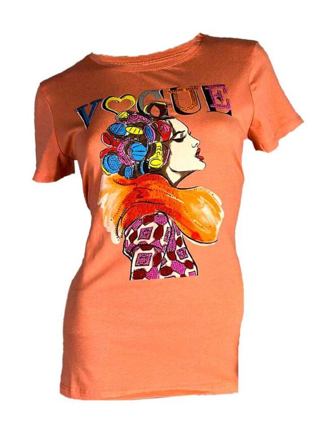 tricou orange damă vară cu pietre,
