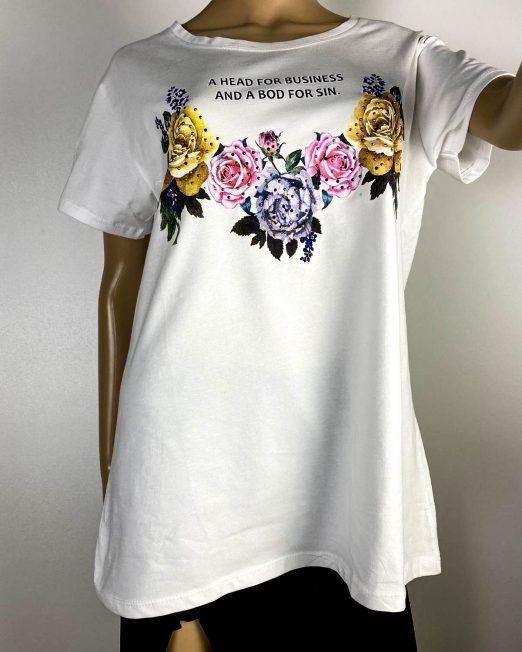 tricou damă alb cu flori,