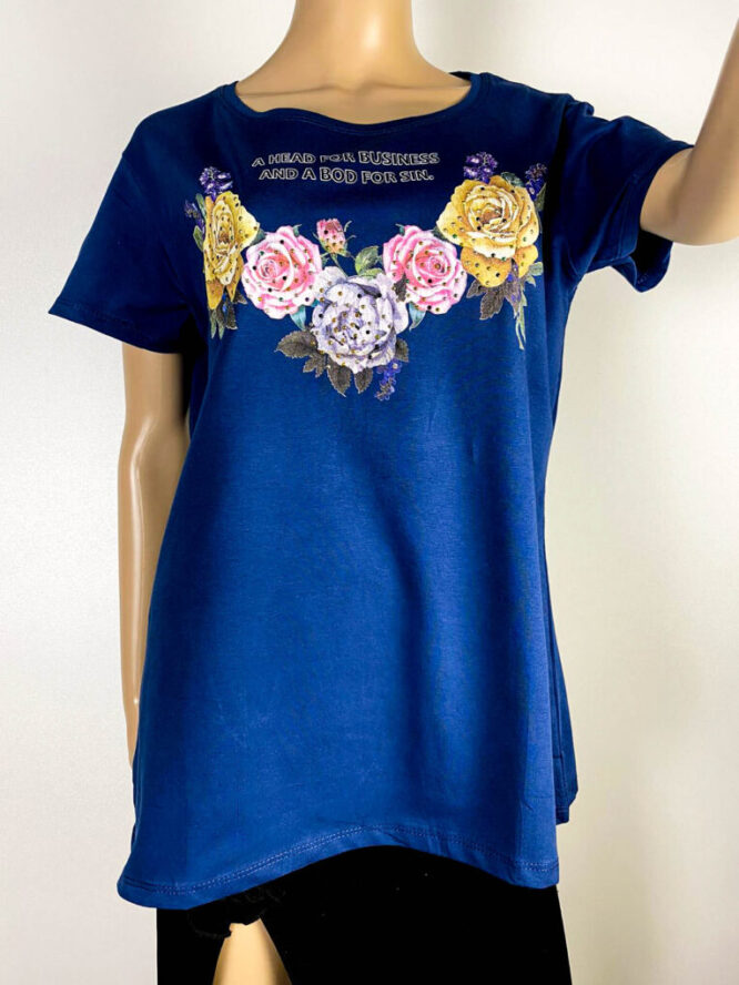 tricou damă bleumarin cu flori,
