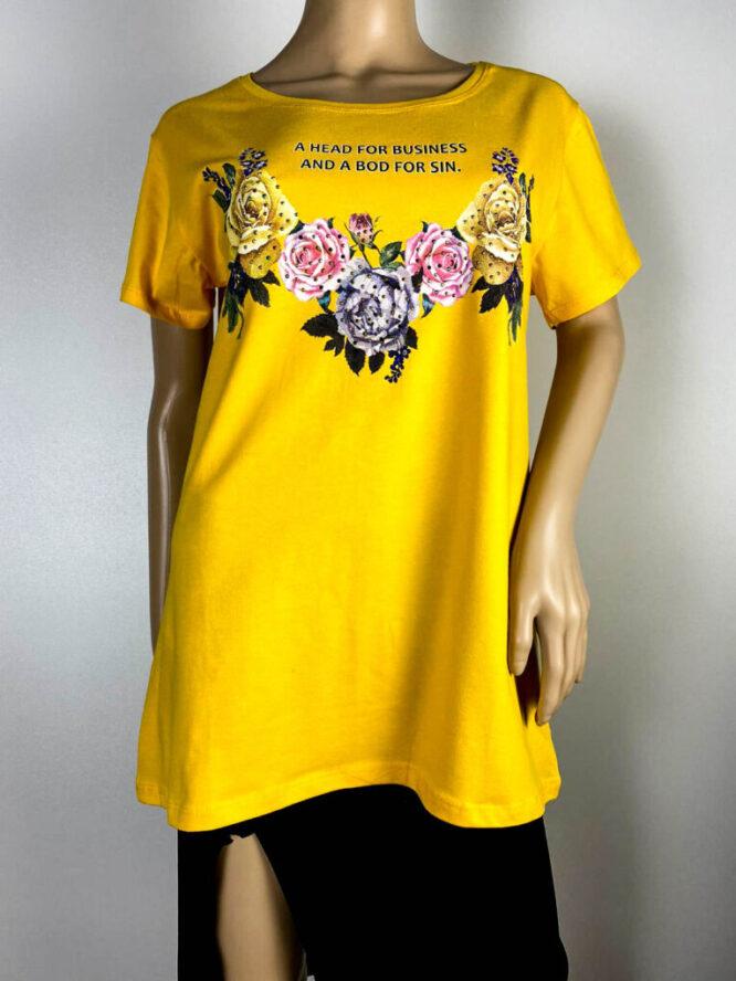tricou damă galben cu flori,