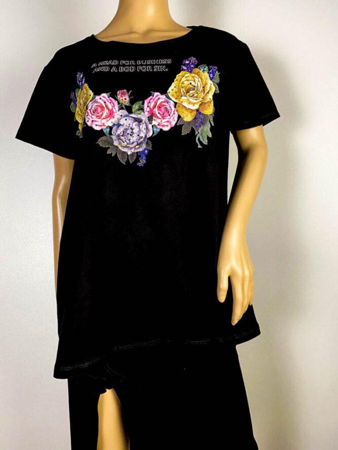 tricou damă negru cu flori,