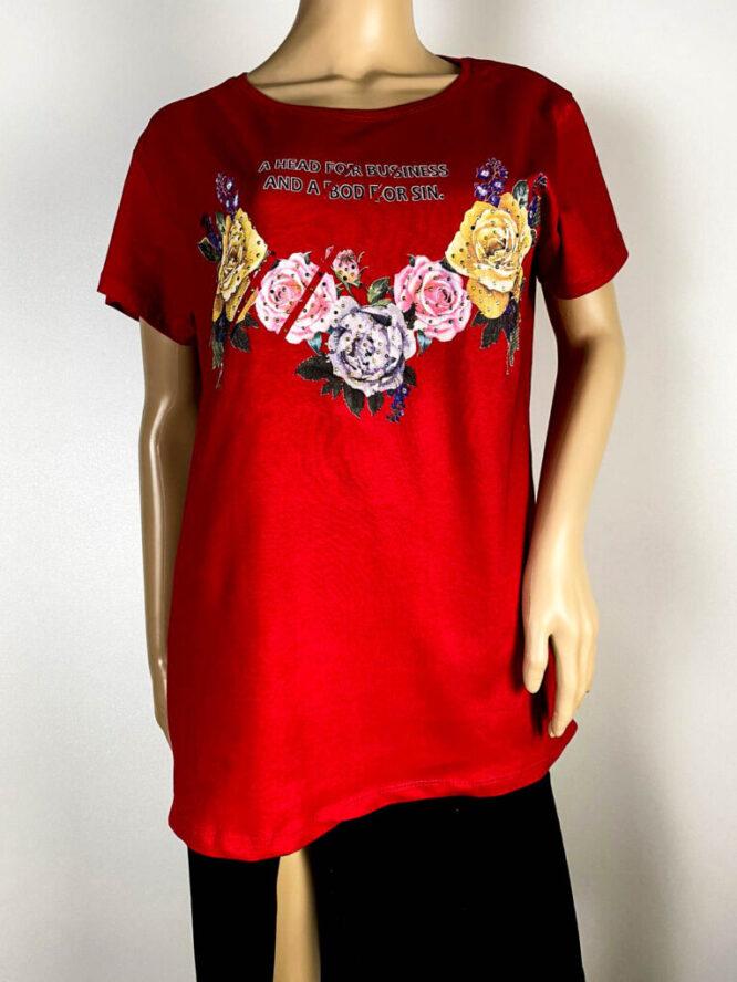 tricou damă roșu cu flori,