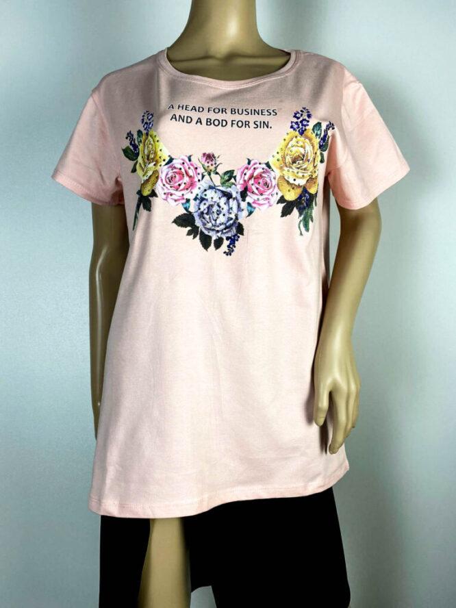 tricou damă roz cu flori,