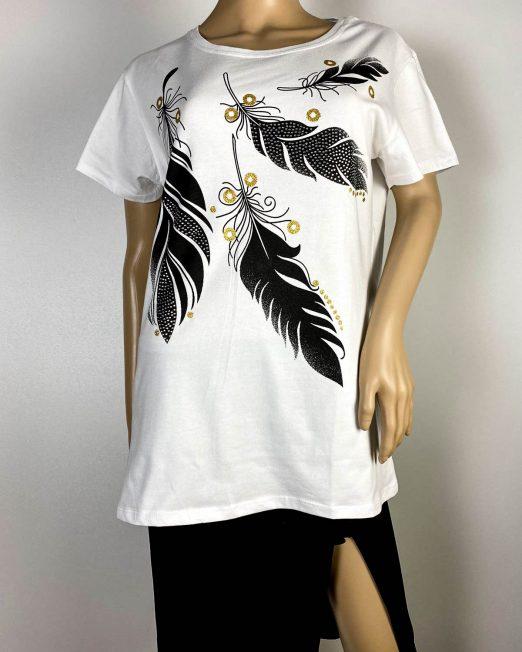 tricou alb damă vară cu pene,