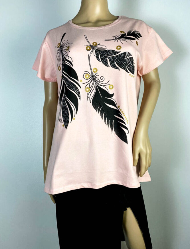 tricou roz damă vară cu pene,