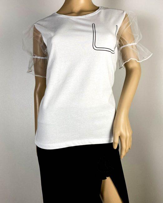 tricou alb damă cu mânecă din voal,