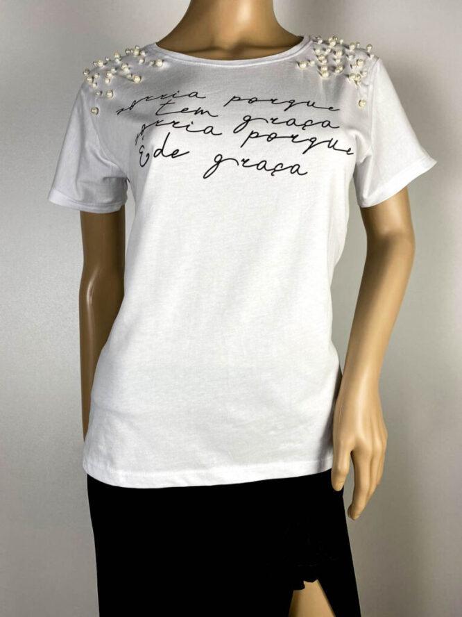 tricou alb damă vară cu perle,