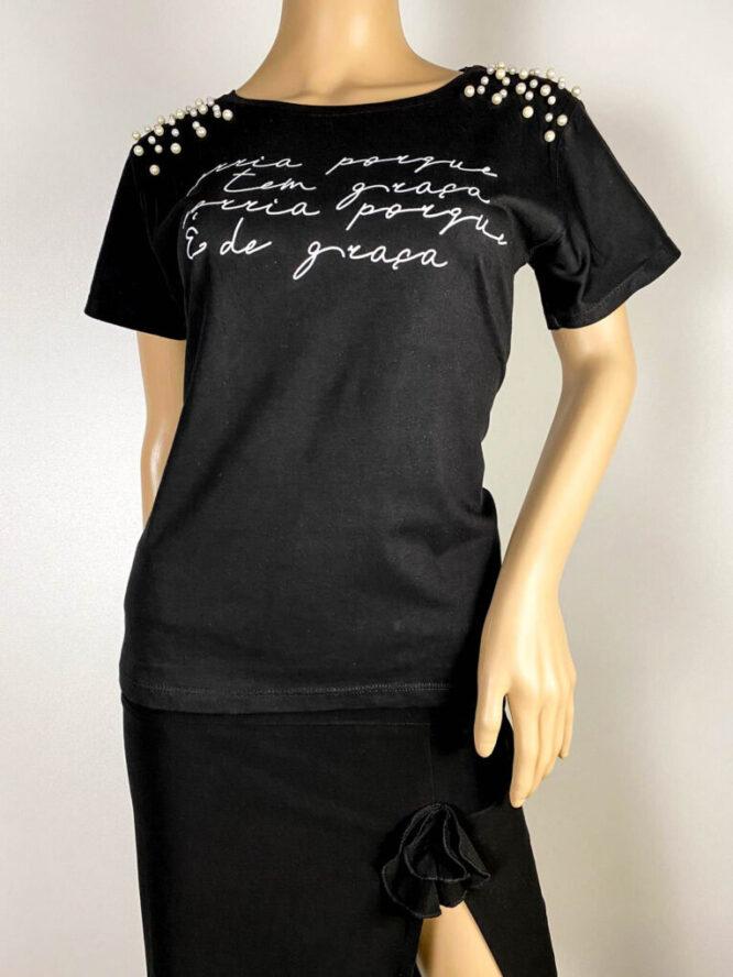 tricou negru damă vară cu perle,