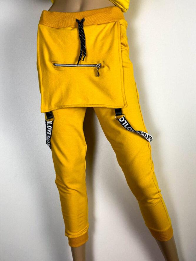 pantalon sport galben damă,