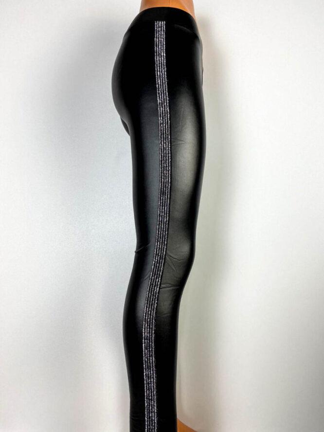 pantalon colant negru damă cu argintiu,
