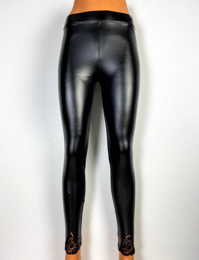 pantalon colant negru damă cu dantelă,