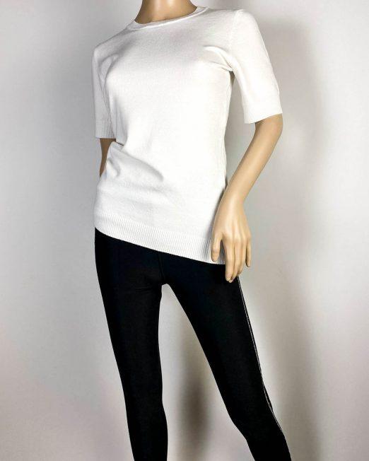 pulover alb damă cu mânecă scurtă,