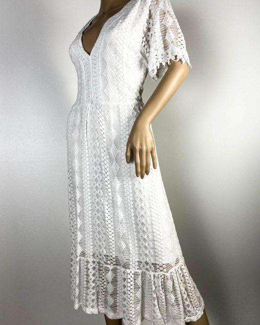 rochie albă damă vară dantelă,