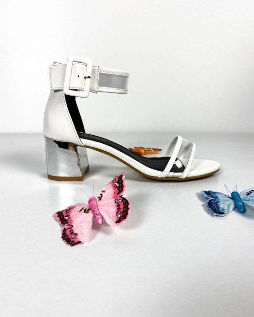 sandale albe damă cu toc argintiu,