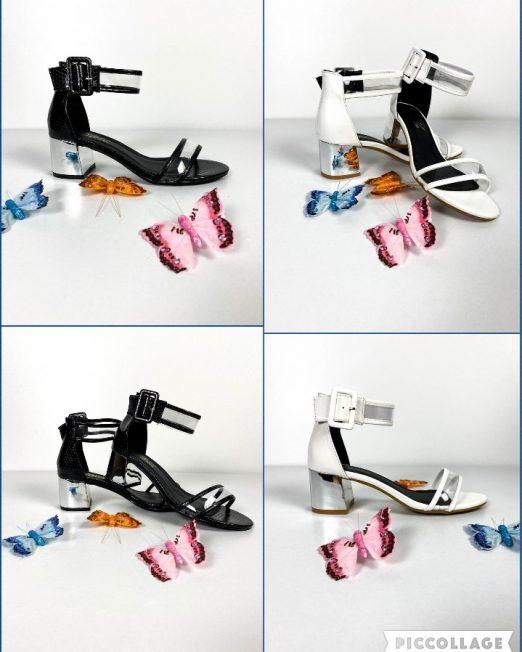 sandale damă cu toc argintiu,