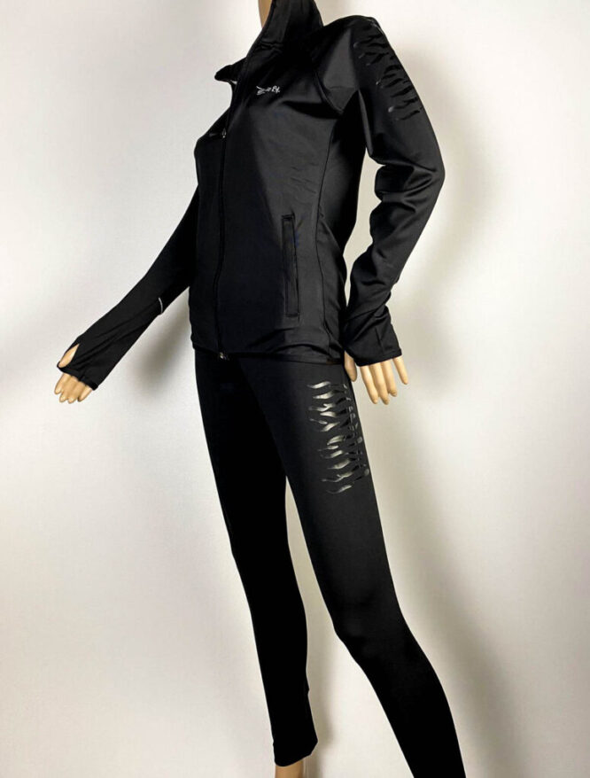 trening negru damă cu pantalon colant,