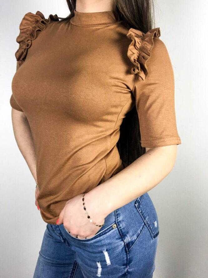 bluză maro damă cu volănaș,