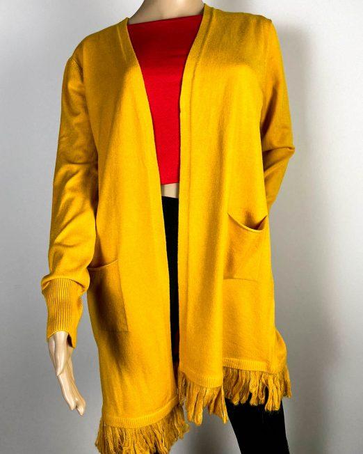 cardigan galben damă tricot cu franjuri,