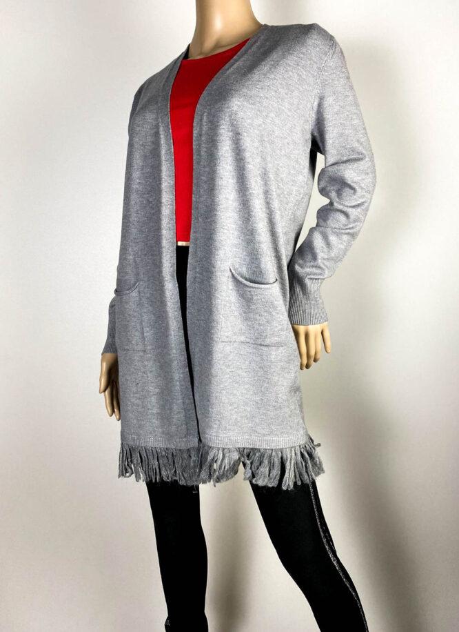 cardigan gri damă tricot cu franjuri,