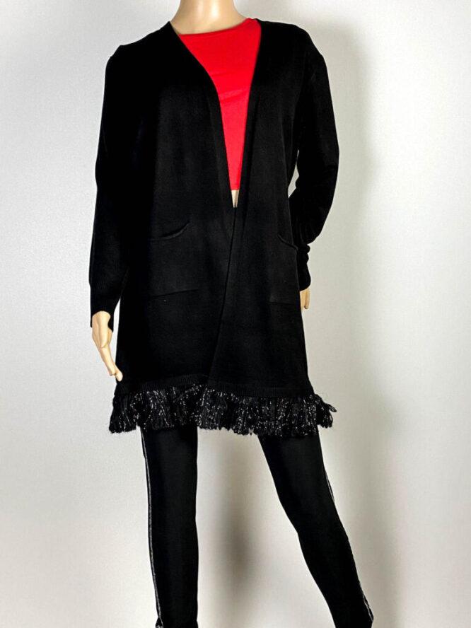 cardigan negru damă tricot cu franjuri,