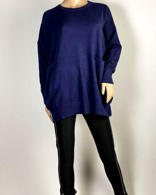 pulover bleumarin damă cu buzunare,